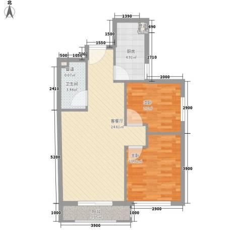 岭湾峰尚2室1厅1卫1厨76.00㎡户型图