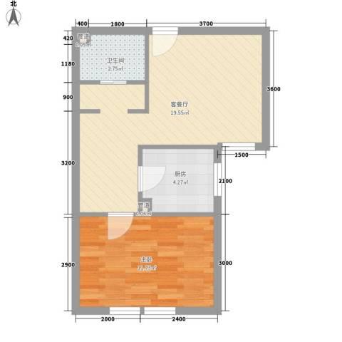 岭湾峰尚1室1厅1卫1厨52.00㎡户型图