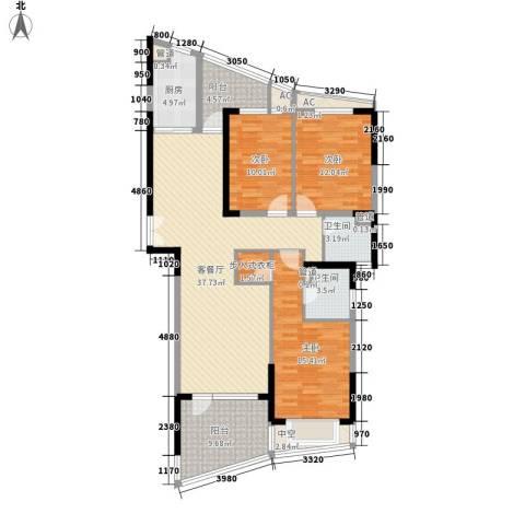 南通中央商务区3室1厅2卫1厨156.00㎡户型图