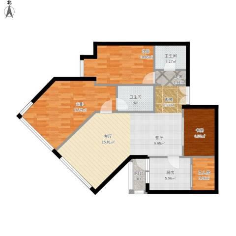 阳光100国际公寓3室1厅2卫1厨93.40㎡户型图