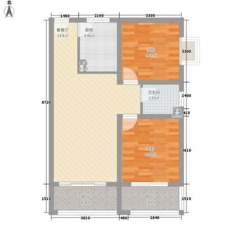 紫薇家天下2室1厅1卫1厨86.00㎡户型图