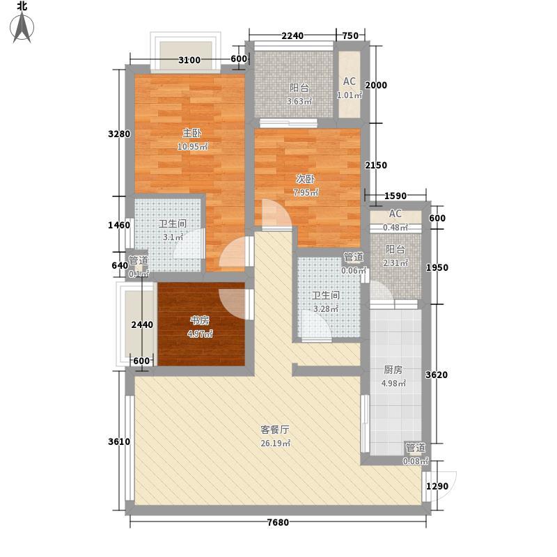 江与城73.00㎡江城时光组团4、8号楼标准层D户型