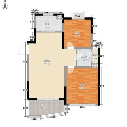 亚东观云国际公寓2室0厅1卫1厨97.00㎡户型图