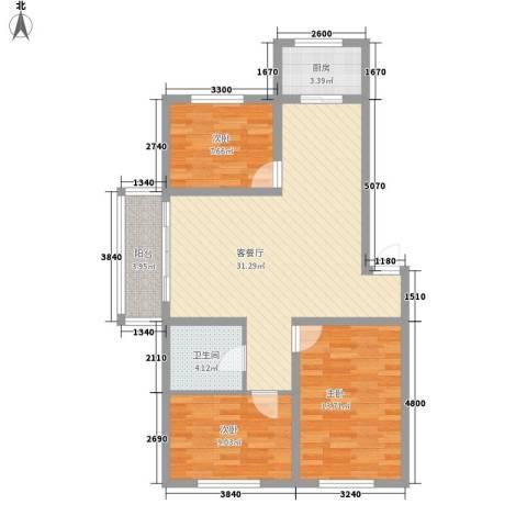 金地江畔花都3室1厅1卫1厨105.00㎡户型图