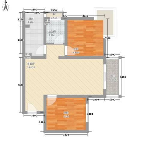 紫薇家天下2室1厅1卫1厨81.00㎡户型图