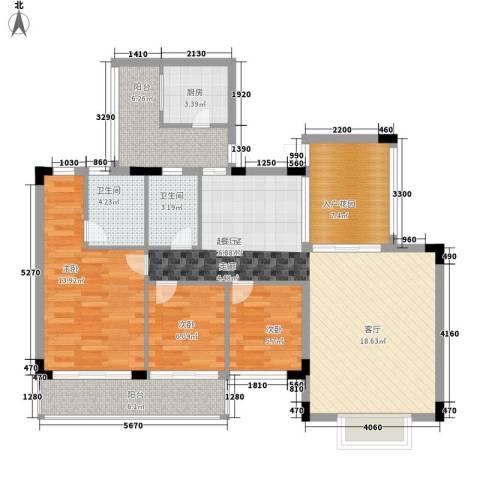 珠海易筑3室0厅2卫1厨122.00㎡户型图