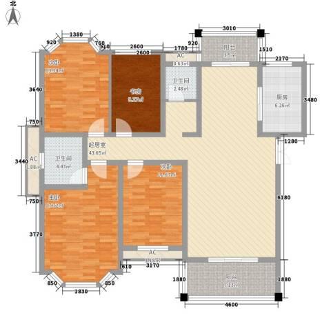 西城门第4室0厅2卫1厨140.00㎡户型图
