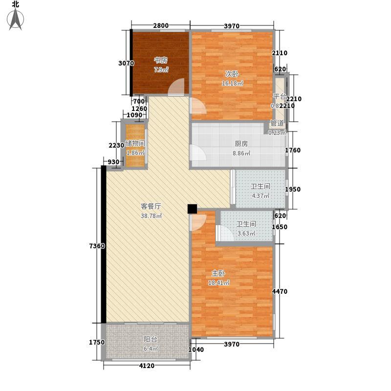 学府华园114.67㎡一期A2户型3室2厅2卫1厨