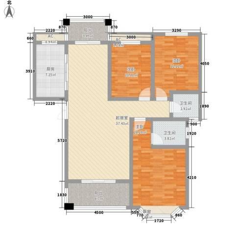 西城门第3室0厅2卫1厨130.00㎡户型图