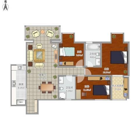 山水文苑3室1厅2卫1厨134.00㎡户型图