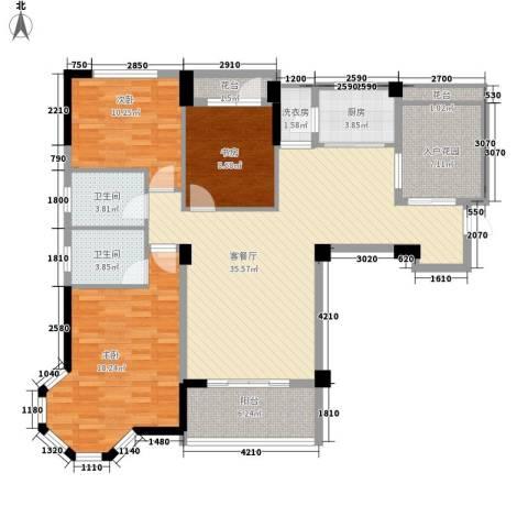 圆梦08庄园3室1厅2卫1厨125.00㎡户型图