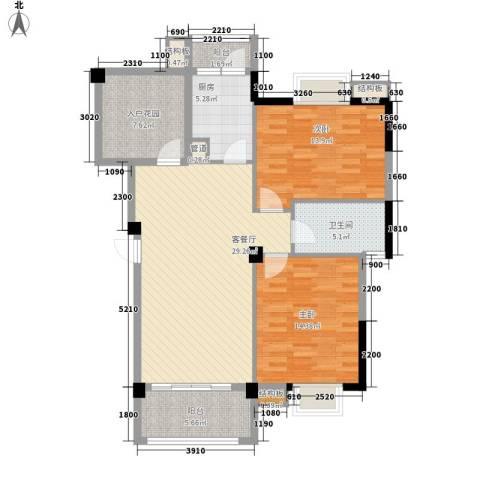 圆梦08庄园2室1厅1卫1厨98.00㎡户型图