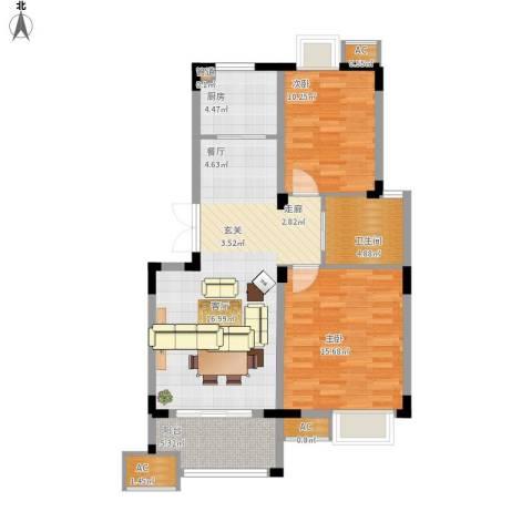 奥体新城丹枫园2室1厅1卫1厨102.00㎡户型图