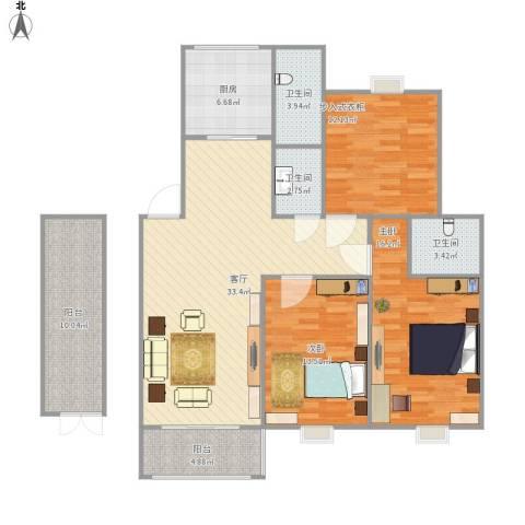 连云港幸福城2室1厅3卫1厨144.00㎡户型图