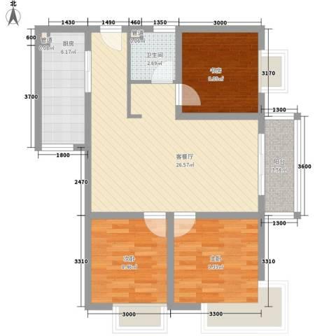 紫薇家天下3室1厅1卫1厨88.00㎡户型图