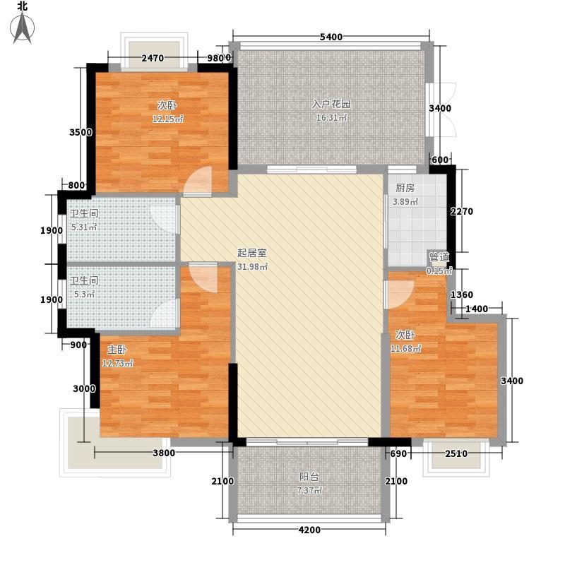 万泉语润134.96㎡8号楼F户型3室2厅