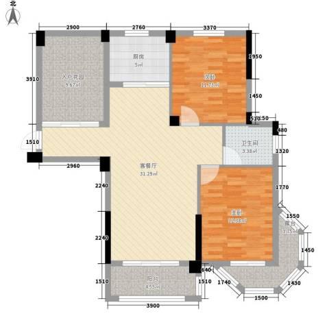 圆梦08庄园2室1厅1卫1厨95.00㎡户型图