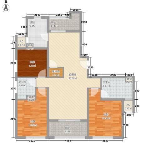 阳光花城别墅3室0厅2卫1厨138.00㎡户型图