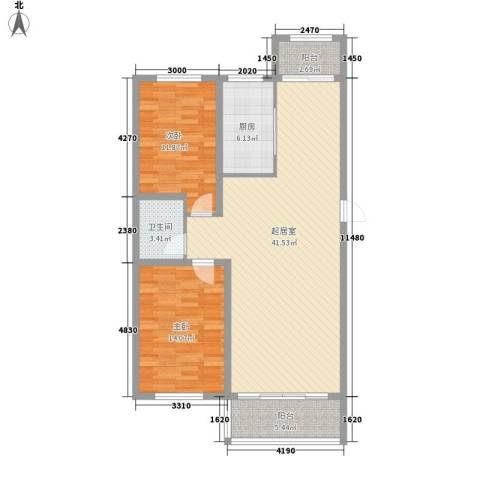 金地江畔花都2室0厅1卫1厨120.00㎡户型图