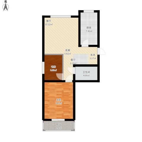 观澜湖高尔夫酒店公寓2室1厅1卫1厨87.00㎡户型图