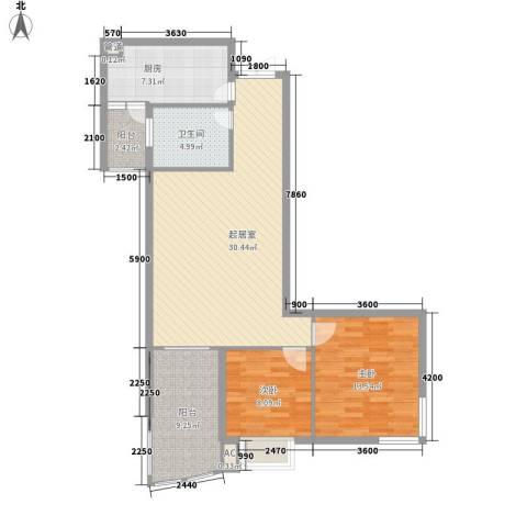 金阳乾图中心广场2室0厅1卫1厨107.00㎡户型图