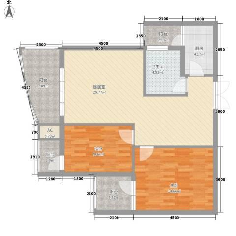 金阳乾图中心广场2室0厅1卫1厨111.00㎡户型图