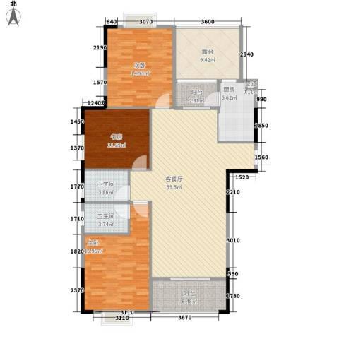 运河名都3室1厅2卫1厨142.00㎡户型图
