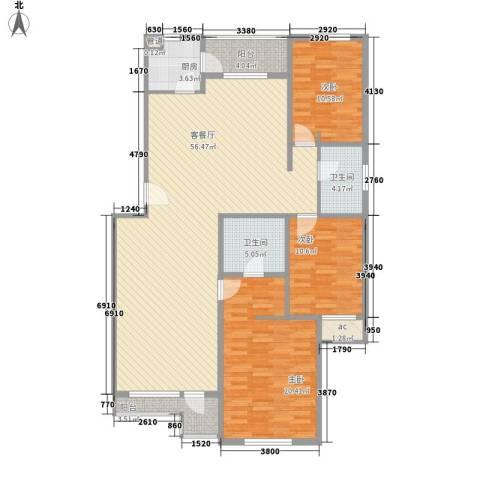 月桂庄园别墅3室1厅2卫1厨167.00㎡户型图