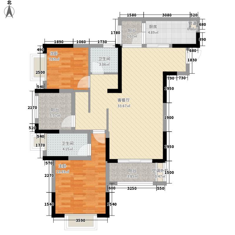 金茂珑悦108.72㎡7/16号楼3/6号房套内8623户型2室2厅