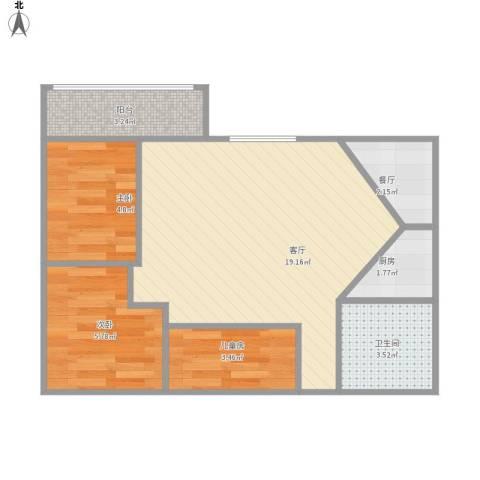 云顶花园3室2厅1卫1厨61.00㎡户型图