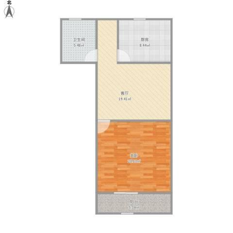 华灵路881弄小区1室1厅1卫1厨79.00㎡户型图