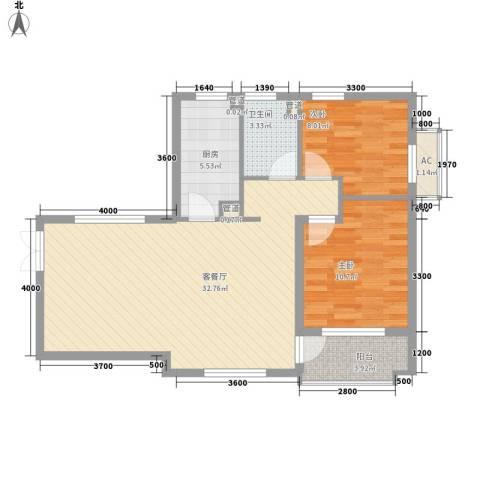 众益万国宫馆2室1厅1卫1厨90.00㎡户型图
