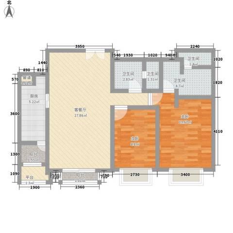 北京华贸城2室1厅4卫1厨110.00㎡户型图