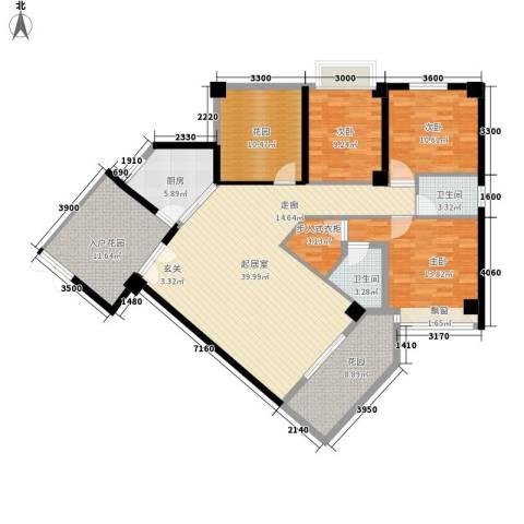 嘉业海华公寓3室0厅2卫1厨142.00㎡户型图