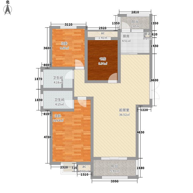 未来华庭139.00㎡D-01南北通透户型3室2厅
