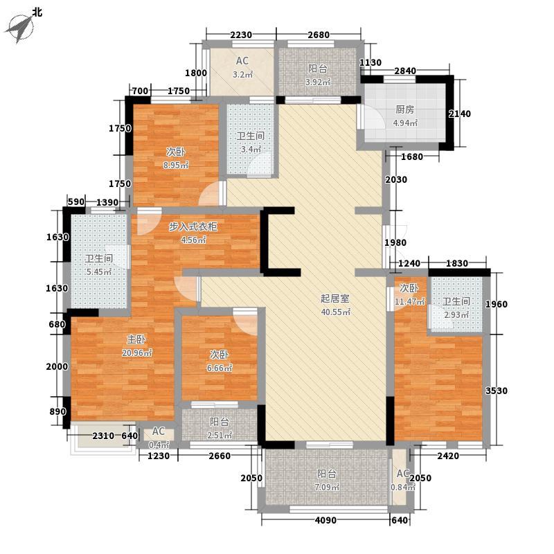 宏图上水庭院181.72㎡小高层8#3-11层G180户型4室3厅
