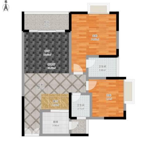 华宇・秋水长天2室1厅2卫1厨97.00㎡户型图