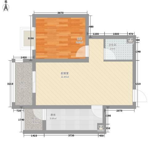 怡情雅居・相和园二期1室0厅1卫1厨67.00㎡户型图