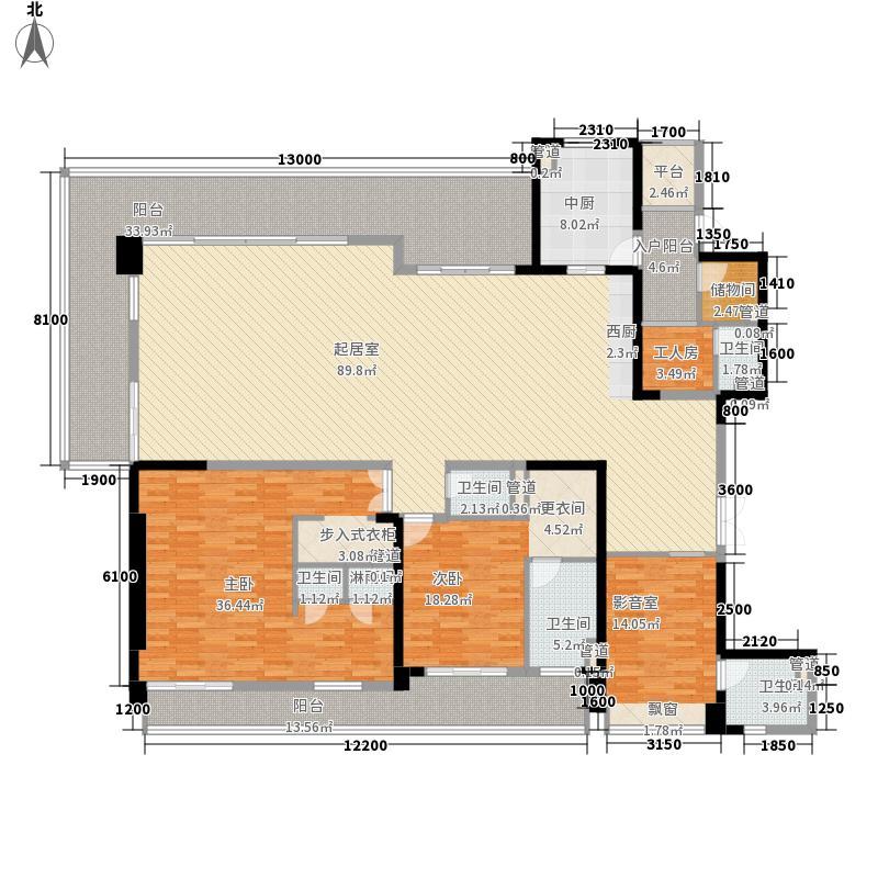 伊泰天骄260.00㎡1期5号楼标准层户型3室3厅