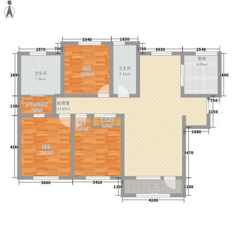 外滩九号3室0厅2卫1厨140.00㎡户型图