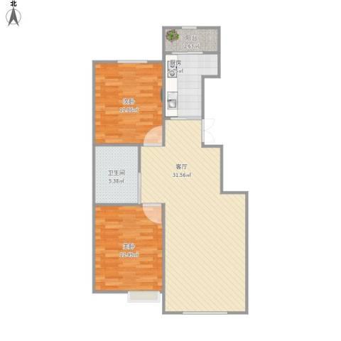 中加・博悦2室1厅1卫1厨93.00㎡户型图