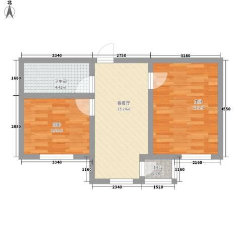 和泰馨城2室1厅1卫0厨64.00㎡户型图