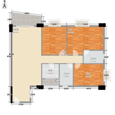 花街18三期3室0厅2卫1厨139.00㎡户型图
