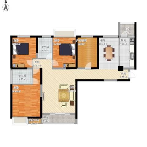 中海紫御东郡3室1厅2卫1厨170.00㎡户型图