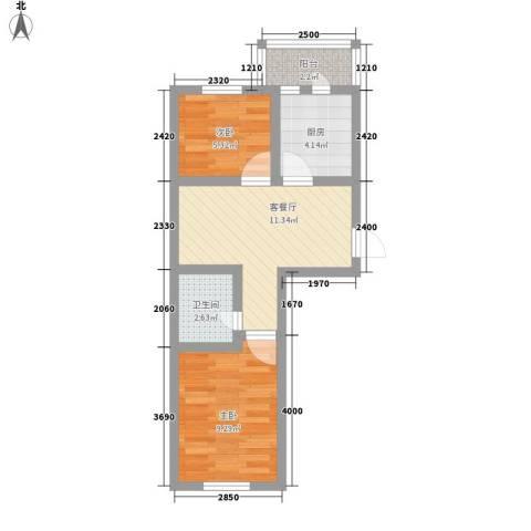 和泰馨城2室1厅1卫1厨58.00㎡户型图