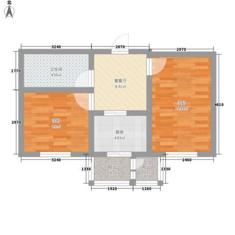 和泰馨城2室1厅1卫1厨53.00㎡户型图