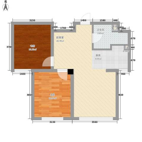 外滩九号2室0厅1卫0厨74.00㎡户型图