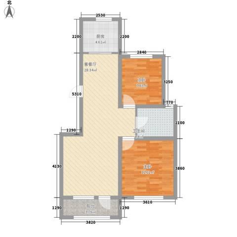外滩九号2室1厅1卫1厨90.00㎡户型图