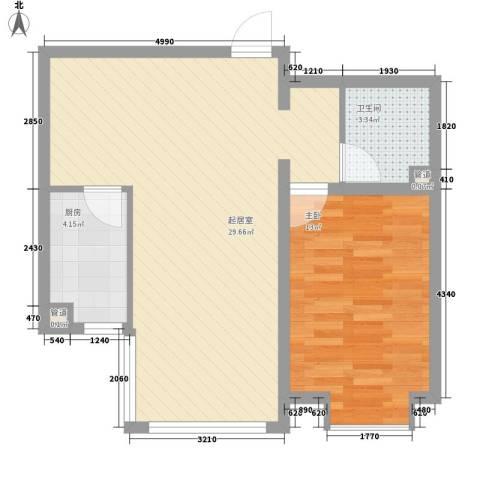 怡情雅居・相和园二期1室0厅1卫1厨70.00㎡户型图