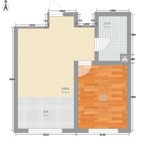 外滩九号1室0厅1卫0厨50.00㎡户型图